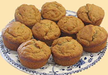 Vegan Banana Muffins on a Plate