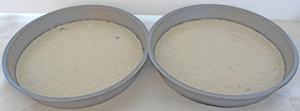 Cake batter in pans, Ready for oven